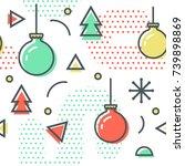 new year christmas memphis...   Shutterstock .eps vector #739898869
