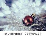 christmas balls before a... | Shutterstock . vector #739904134