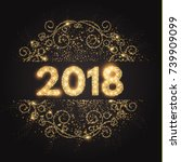 happy new 2018 year  gold... | Shutterstock .eps vector #739909099
