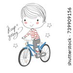 illustration of a young boy... | Shutterstock .eps vector #739909156