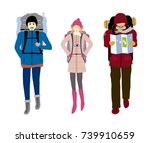 backpacker isolated on white... | Shutterstock .eps vector #739910659
