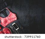 top view sport wear concept... | Shutterstock . vector #739911760