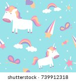 unicorn pattern. cute girl... | Shutterstock .eps vector #739912318