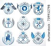 set of luxury heraldic vector...   Shutterstock .eps vector #739912798