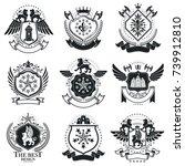 heraldic designs  vector... | Shutterstock .eps vector #739912810