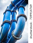 water pipeline at a valley in... | Shutterstock . vector #739914769