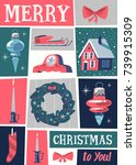 christmas greeting card. mid... | Shutterstock .eps vector #739915309
