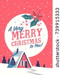 christmas greeting card with... | Shutterstock .eps vector #739915333