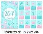calendar 2018 in marine style ...   Shutterstock .eps vector #739925908