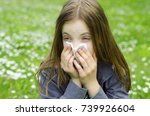 child girl pale face sneeze in... | Shutterstock . vector #739926604
