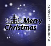 happy christmas inscription... | Shutterstock .eps vector #739930750