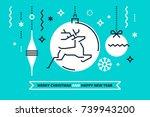 cool flat linear xmas... | Shutterstock .eps vector #739943200