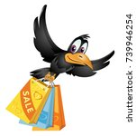 flying crow carries the...   Shutterstock .eps vector #739946254