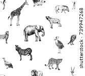 seamless pattern of hand drawn... | Shutterstock .eps vector #739947268