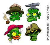 zombie heads detailed vector... | Shutterstock .eps vector #739947484