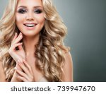 beautiful blonde woman with... | Shutterstock . vector #739947670