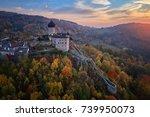 aerial view on  castle sovinec  ... | Shutterstock . vector #739950073