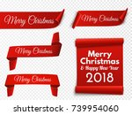 set of red christmas banners.... | Shutterstock .eps vector #739954060