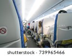 inside airplane interior  ...   Shutterstock . vector #739965466