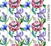 wildflowers in watercolor... | Shutterstock . vector #739974070
