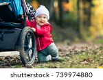 baby boy playing in autumn... | Shutterstock . vector #739974880
