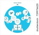social media. flat design... | Shutterstock . vector #739976620