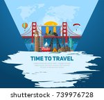 time to travel concept. banner... | Shutterstock .eps vector #739976728