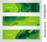 horizontal banners set 3d... | Shutterstock .eps vector #739980499