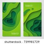 vertical banners set 3d... | Shutterstock .eps vector #739981729