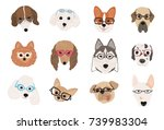 collection of cute dogs of...   Shutterstock .eps vector #739983304