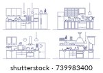 set of kitchens furnished with... | Shutterstock .eps vector #739983400