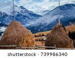 winter landscape in romania.... | Shutterstock . vector #739986340