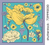 colorful silk scarf with... | Shutterstock .eps vector #739990030