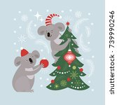cute koala decorates christmas... | Shutterstock .eps vector #739990246