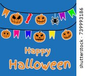set of halloween objects ... | Shutterstock .eps vector #739993186