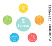 five senses simple icons.... | Shutterstock .eps vector #739995088