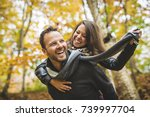 a young couple in love in a... | Shutterstock . vector #739997704