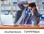 businessman sweating... | Shutterstock . vector #739999864