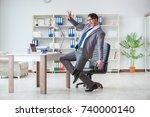 businessman having fun taking a ... | Shutterstock . vector #740000140