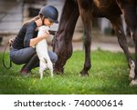 young pretty girl preparing...   Shutterstock . vector #740000614