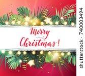 christmas on the summer beach... | Shutterstock .eps vector #740003494