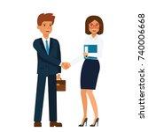 businesswoman and businessman... | Shutterstock .eps vector #740006668