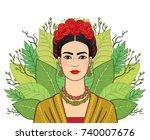 portrait of the beautiful... | Shutterstock .eps vector #740007676