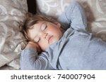 cute toddler girl sleep in the... | Shutterstock . vector #740007904