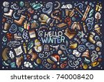 colorful vector hand drawn... | Shutterstock .eps vector #740008420