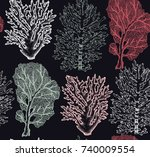 seamless pattern with hand... | Shutterstock .eps vector #740009554