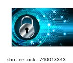 safety concept  closed padlock... | Shutterstock .eps vector #740013343