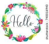 vector illustration  invitation ... | Shutterstock .eps vector #740016940