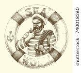 sailor graphic portrait | Shutterstock .eps vector #740018260