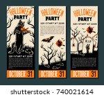 halloween banner template.... | Shutterstock .eps vector #740021614